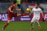 Patrik Schick of AS Roma and Hakan Calhanoglu of AC Milan compete for the ball during the Serie A 2018/2019 football match between AS Roma and AC Milan at stadio Olimpico, Roma, February 3, 2019 <br />  Foto Andrea Staccioli / Insidefoto