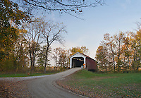 McAllister's Covered Bridge is in Parke County, Indiana and show here on a late afternoon in Autumn