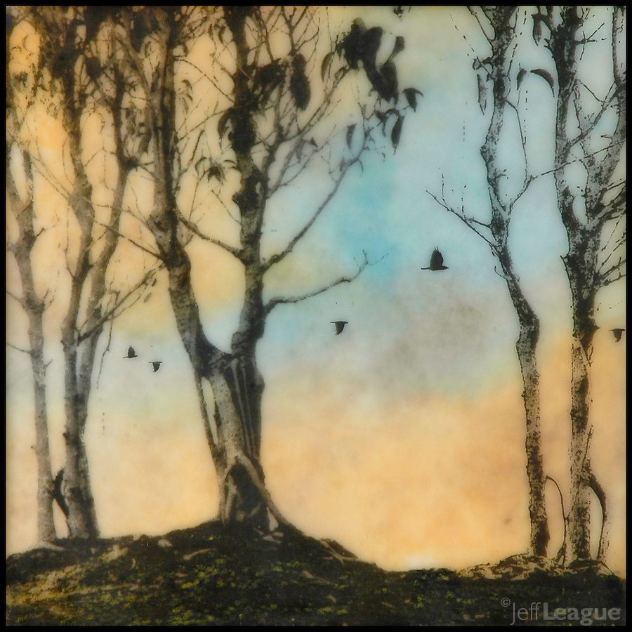 Mixed media encaustic painting with photography of trees and birds in oranges and blues.