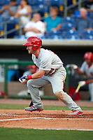 Palm Beach Cardinals left fielder Casey Turgeon (29) follows through on a swing during a game against the Clearwater Threshers on April 14, 2017 at Spectrum Field in Clearwater, Florida.  Clearwater defeated Palm Beach 6-2.  (Mike Janes/Four Seam Images)