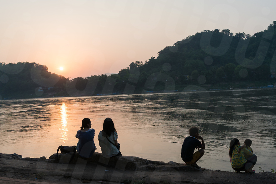 May 07, 2017 - Luang Prabang (Laos). People enjoy the sunset over the Mekong river. © Thomas Cristofoletti / Ruom