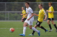 Team Wellington&rsquo;s Joshua Rogerson in action during the National Youth League - Phoenix Youth v Team Wellington Youth at Petone Memorial Park, Lower Hutt, New Zealand on Saturday 29 October 2016.<br /> Photo by Masanori Udagawa. <br /> www.photowellington.photoshelter.com.