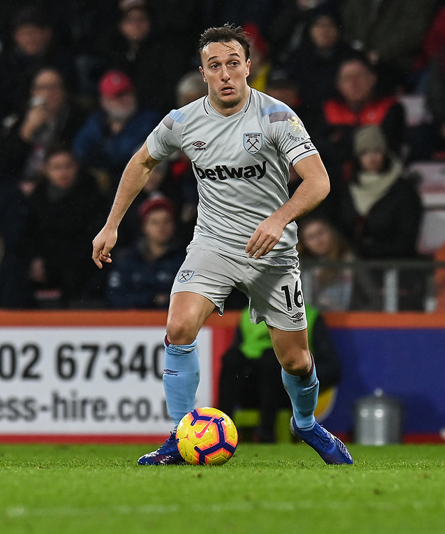West Ham United's Mark Noble<br /> <br /> Photographer David Horton/CameraSport<br /> <br /> The Premier League - Bournemouth v West Ham United - Saturday 19 January 2019 - Vitality Stadium - Bournemouth<br /> <br /> World Copyright &copy; 2019 CameraSport. All rights reserved. 43 Linden Ave. Countesthorpe. Leicester. England. LE8 5PG - Tel: +44 (0) 116 277 4147 - admin@camerasport.com - www.camerasport.com