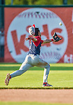 29 June 2014:  Lowell Spinners infielder Mauricio Dubon in action against the Vermont Lake Monsters at Centennial Field in Burlington, Vermont. The Spinners defeated the Lake Monsters 7-5 in NY Penn League action. Mandatory Credit: Ed Wolfstein Photo *** RAW Image File Available ****