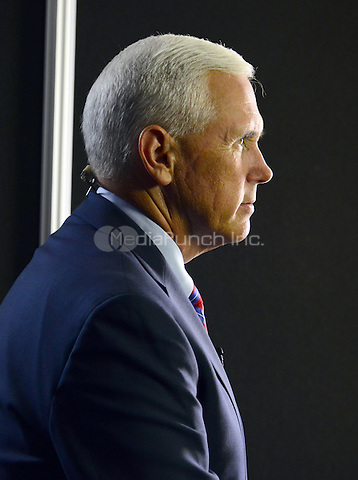 Governor Mike Pence (Republican of Indiana) sits for a series of interviews prior to the start of the last session of the 2016 Republican National Convention held at the Quicken Loans Arena in Cleveland, Ohio on Thursday, July 21, 2016.<br /> Credit: Ron Sachs / CNP/MediaPunch<br /> (RESTRICTION: NO New York or New Jersey Newspapers or newspapers within a 75 mile radius of New York City)