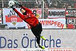 09.11.2019, Stadion an der Bremer Brücke, Osnabrück, GER, 2. FBL, VfL Osnabrueck vs. VfB Stuttgart<br /> <br /> ,DFL REGULATIONS PROHIBIT ANY USE OF PHOTOGRAPHS AS IMAGE SEQUENCES AND/OR QUASI-VIDEO, <br />   <br /> im Bild<br /> Torhueter Gregor Kobel (VfB Stuttgart #1), Aktion / Einzelbild / Freisteller / mit Ball.<br /> <br /> <br /> Foto © nordphoto / Paetzel