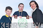 Awards: Jack Bambury and Jack Galvin with Wendy Brosnahan at the Listowel Equestrian Centre on Friday.    Copyright Kerry's Eye 2008