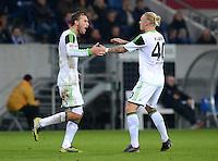 FUSSBALL  1. BUNDESLIGA  SAISON 2012/2013  14. SPIELTAG     TSG 1899 Hoffenheim - VfL Wolfsburg       18.11.2012 Jubel nach dem Tor zum 0-2 Bas Dost und Simon Kjaer (v. li., VfL Wolfsburg)