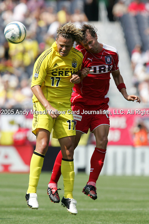 16 July 2005: Danny Szetela (17) and Jesse Marsch (15) challenge for a header. The Chicago Fire and Columbus Crew tied 1-1 at Soldier Field in Chicago, Illinois in a regular season Major League Soccer game.