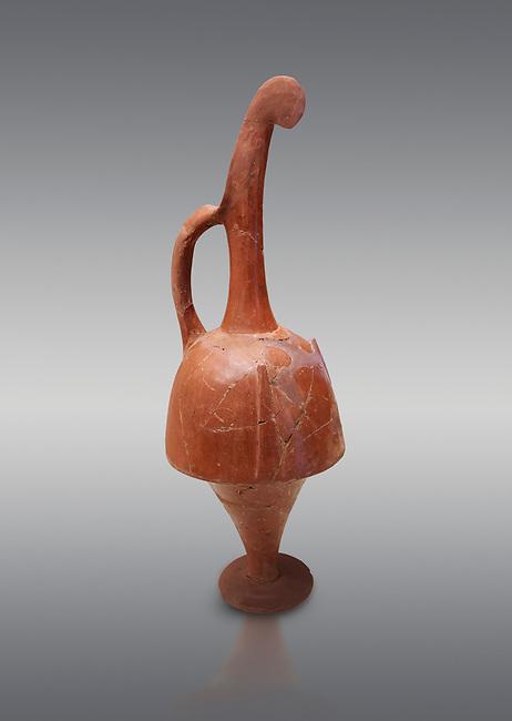 Hittite terra cotta beak shaped long top neck pitcher. Hittite Empire, Alaca Hoyuk, 1450 - 1200 BC. Alaca Hoyuk. Çorum Archaeological Museum, Corum, Turkey