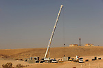 Construction works of a barrier at Israel-Egypt border, some 70 km north of Eilat, southern Israel. Alarmed by what it described as a near-doubling in the influx of Africans seeking work or claiming refugee status, Israel last year began erecting a fence along the frontier.