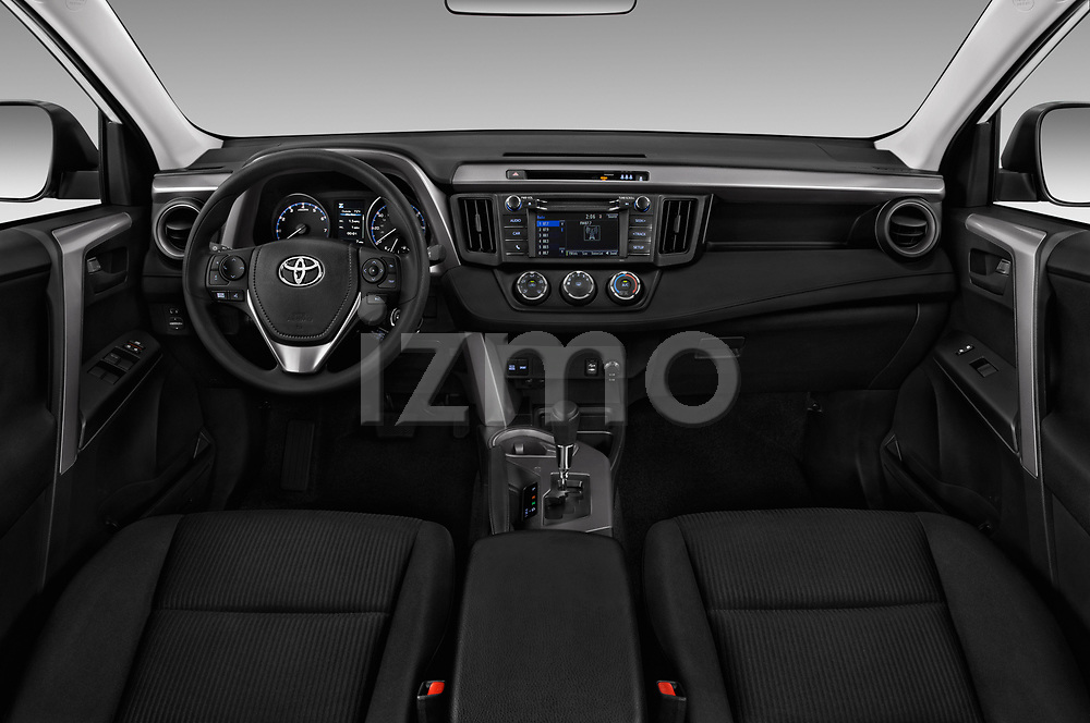Stock photo of straight dashboard view of a 2018 Toyota RAV4 LE 5 Door SUV