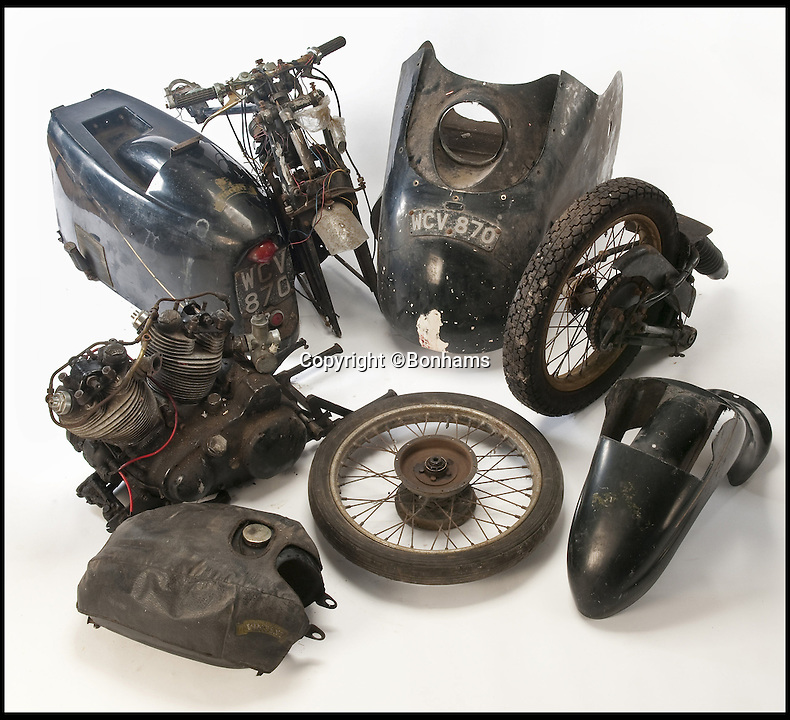 BNPS.co.uk (01202 558833)<br /> Pic: Bonhams/BNPS<br /> <br /> ***Please use full byline***<br /> <br /> World record price for bag of bits....<br /> <br /> A rusty old motorbike which has spent the last 50 years languishing in bits has sold for a whopping &pound;91,000.<br /> <br /> The rare Vincent Black Prince bike has not been ridden since being taken off the road in 1967 for a restoration project its owner never carried out.<br /> <br /> The 1955 bike was dismantled and stripped back before being left in a garage in Yorkshire and forgotten about.<br /> <br /> But experts were left stunned when, almost 50 years on, it sold for almost four times its estimate as a bidding war broke out.<br /> <br /> It was snapped up by a private British collector who was born in 1955, the same year the motorbike was made.<br /> <br /> The Bonhams sale set a new world record for a Vincent Black Prince at auction, going for substantially more than the cost of a fully-restored example.<br /> <br /> The previous record was held by a mint condition Vincent Black Prince sold by Bonhams in 2012 for &pound;81,000.