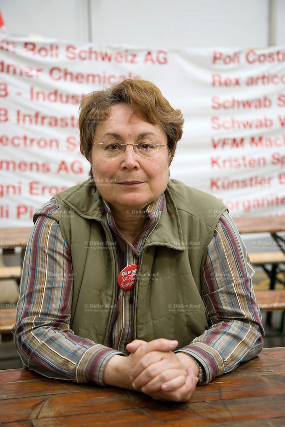 """Switzerland. Canton Ticino. Bellinzona. On march 28 2008, Maria Agostinetti has started a hunger's strike as a gesture of solidarity towards the railway workers on strike and the  the committee"""" Giù le mani dall'Officina di Bellinzona"""". Officine FFS. Stabilimento Industriale SBB CFF FFS Cargo. Building's occupation. 01.04.08 © 2008 Didier Ruef"""