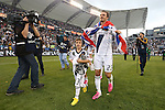01 December 2012: Los Angeles' David Beckham (ENG) and his sons make a lap of honor after the game. The Los Angeles Galaxy played the Houston Dynamo at the Home Depot Center in Carson, California in MLS Cup 2012. Los Angeles won the game 3-1.