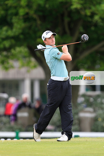 Paul Dunne (Greystones) on the 1st tee during Round 2 of the East of Ireland in the Co. Louth Golf Club at Baltray on Sunday 1st June 2014.<br /> Picture:  Thos Caffrey / www.golffile.ie