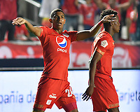 CALI - COLOMBIA-24-03-2019: Luis Sanchez (Izq) del América celebra después de anotar el primer gol de su equipo partido por la fecha 11 de la Liga Águila I 2019 entre América de Cali y Jaguares de Córdoba FC jugado en el estadio Pascual Guerrero de la ciudad de Cali. / Luis Sanchez (L)  of America celebrates after scoring the first goal of his team during match for the date 11 as part of Aguila League I 2019 between America Cali and Jaguares de Cordoba FC played at Pascual Guerrero stadium in Cali. Photo: VizzorImage / Nelson Rios / Cont