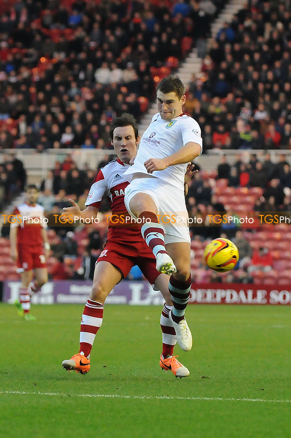 Dean Whitehead of Middlesbrough battles with Sam Vokes of Burnley - Middlesbrough vs Burnley - Sky Bet Championship Football at the Riverside Stadium, Middlesbrough - 26/12/13 - MANDATORY CREDIT: Steven White/TGSPHOTO - Self billing applies where appropriate - 0845 094 6026 - contact@tgsphoto.co.uk - NO UNPAID USE