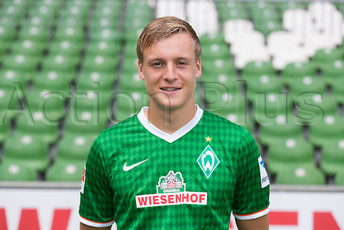 29.07.2013. Bremen, Germany.  The picture shows German Soccer Bundesliga club SV Werder Bremen's Felix Kroos during the official photocall for the season 2013-14 in Bremen.