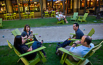 Debra Siegel (bottom left, clockwise), Traci Gingold, Philip cq Siegel, and Jason Gingold chat before dinner next to the bocce ball court at Empire State South, photographed for Choice Tables on Saturday, April 23, 2011 in Atlanta.  (Rich Addicks/Photographer) 10110950A