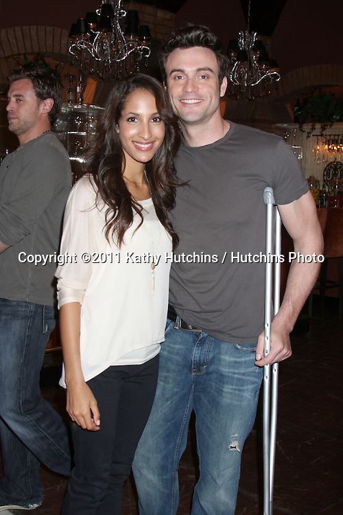 LOS ANGELES - MAR 24:  Christel Khalil Hensley, Daniel Goddard at the Young & Restless 38th Anniversary On Set Press Party at CBS Television City on March 24, 2011 in Los Angeles, CA