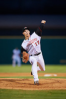 Arkansas Travelers relief pitcher Ryan Horstman (17) delivers a pitch during a game against the Midland RockHounds on May 25, 2017 at Dickey-Stephens Park in Little Rock, Arkansas.  Midland defeated Arkansas 8-1.  (Mike Janes/Four Seam Images)