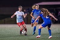 Boston, MA - Friday July 07, 2017: Taylor Comeau and Rosie White during a regular season National Women's Soccer League (NWSL) match between the Boston Breakers and the Chicago Red Stars at Jordan Field.