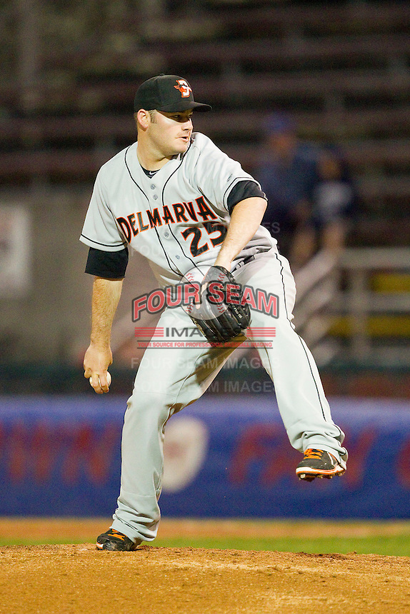 Delmarva Shorebirds relief pitcher Matt Price (25) in action against the Hagerstown Suns at Municipal Stadium on April 11, 2013 in Hagerstown, Maryland.  The Shorebirds defeated the Suns 7-4 in 10 innings.  (Brian Westerholt/Four Seam Images)