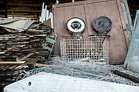 MAterials that have been stripped from the Mill.  The Jordan's store these in a barn in order to try to reuse them as the Mill renovation continues.