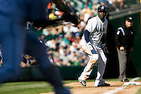 September 28, 2008: Seattle Mariners Yuniesky Bentancourt gets a walking lead off third base during a game against the Oakland Athletics at Safeco Field in Seattle, Washington.