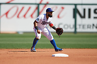 Rougned Odor (12) of the Texas Rangers during a Cactus League Spring Training game against the Los Angeles Dodgers on March 8, 2020 at Surprise Stadium in Surprise , Arizona. Rangers defeated the Dodgers 9-8. (Tracy Proffitt/Four Seam Images)