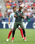 England's Mason Holgate tussles with Germany's Serge Gnabry during the UEFA Under 21 Semi Final at the Stadion Miejski Tychy in Tychy. Picture date 27th June 2017. Picture credit should read: David Klein/Sportimage
