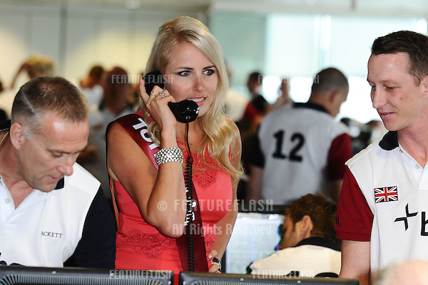 Nancy Sorrell on the trading floor of BGC as part of the BGC Charity Day 2012, Canary Wharf, London. 11/09/2012 Picture by: Steve Vas / Featureflash