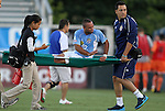 02 June 2012: Puerto Rico's Jonathan Fana (DOM) signals to the bench not to substitute him out of the game as he is stretchered off of the field. The Carolina RailHawks defeated the Puerto Rico Islanders 2-1 at WakeMed Soccer Stadium in Cary, NC in a 2012 North American Soccer League (NASL) regular season game.