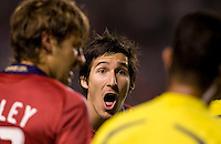 Chivas USA midfielder Sacha Kljestan can't believe the the call he is hearing from the AR. The Chicago Fire defeated Chivas USA 3-2 in extra time at Home Depot Center stadium in Carson, California on Thursday evening May 21, 2009.   .