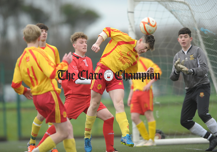 Cathal Darcy of Avenue is first to the ball against Lifford during their Munster Youths Cup game at lees Road. Photograph by John Kelly.