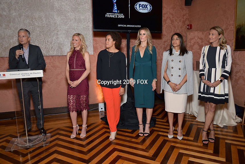 New York City, NY - MAY 23: (L-R) David Neal, Executive Producer, FIFA World Cup on Fox Sports, Aly Wagner, Lead WWC Match Analyst, Danielle Slaton, Match Analyst, Leslie Osborne, Studio Analyst, Christina Unkel, Rules Analyst, and Kyndra de St. Aubin, Match Analyst, attend the Fox Sports FIFA Women's World Cup Send-off at the Consulate General of France in New York City. (Photo by Anthony Behar/Fox Sports/PictureGroup)