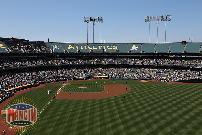 OAKLAND, CA - AUGUST 4:  General overall interior scenic stadium view from the upper deck during the game between the Texas Rangers and Oakland Athletics at O.co Coliseum on Sunday, August 4, 2013 in Oakland, California. Photo by Brad Mangin