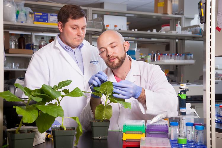Assistant Professor Michael Held, left, and student Daniel B. Nething, Biochemistry Research Facility Ohio University. © Ohio University / Photo by Jonathan Adams