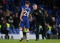 Manchester United Manager, Ole Gunnar Solskjaer shakes hands with Chelsea captain Cesar Azpilicueta at the final whistle during Chelsea vs Manchester United, Premier League Football at Stamford Bridge on 17th February 2020