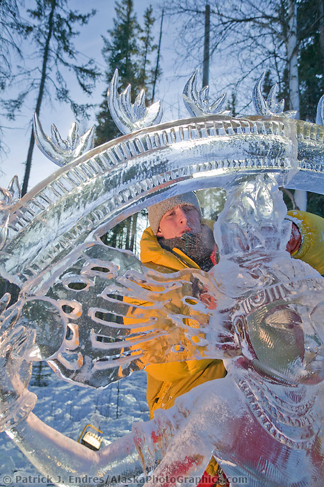 Walking Beyond Three Seas Multi Block, 2003 World Ice Art Championships, Fairbanks Alaska. Multi Block team Victor Solomennikov, Stan Kolonko, Tom Bagdovitz, Piotr Czurczak.