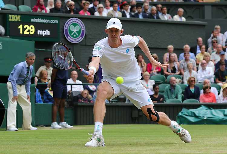 Kevin Anderson (RSA) [20] in action playing against Andy Murray (GBR) [3] in their Gentlemen's Singles Fourth Round match today<br /> <br /> Photographer Kieran Galvin/CameraSport<br /> <br /> Tennis - Wimbledon Lawn Tennis Championships - Day 7 Monday 30th June 2014 -  All England Lawn Tennis and Croquet Club - Wimbledon - London - England<br /> <br /> &copy; CameraSport - 43 Linden Ave. Countesthorpe. Leicester. England. LE8 5PG - Tel: +44 (0) 116 277 4147 - admin@camerasport.com - www.camerasport.com.