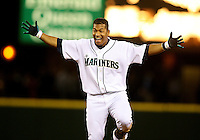 Mariner's second baseman Jose Lopez waits for teammates after getting the game winning hit in the bottom of the ninth as the Mariners beat the Boston Red Sox 4-3 at Safeco Field in Seattle on May 27, 2008. (Photo by Scott Eklund)
