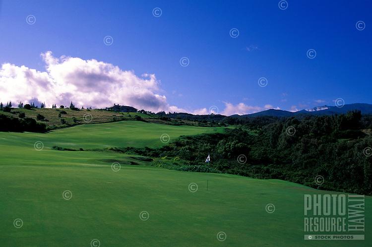 Hole No. 18 of the Kapalua Plantation golf course on Maui