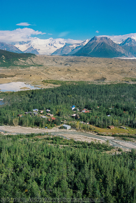 Aerial of the town of McCarthy, McCarthy creek, Kennicottt Glacier moraine, Mount Blackburn, Wrangell St. Elias National Park, Alaska.