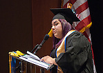 Western Nevada College Associated Student President Alejandra Leon delivers the welcome message to students during the Fallon commencement ceremony in Fallon, Nev., on Tuesday, May 20, 2014.<br /> Photo by Kim Lamb/Nevada Photo Source