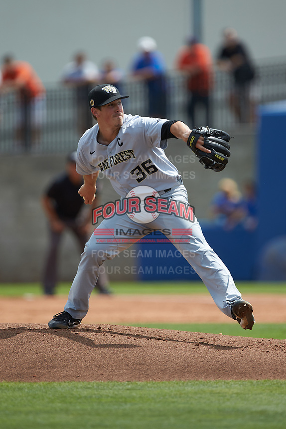 Wake Forest Demon Deacons starting pitcher Parker Dunshee (36) in action against the Florida Gators in Game One of the Gainesville Super Regional of the 2017 College World Series at Alfred McKethan Stadium at Perry Field on June 10, 2017 in Gainesville, Florida. The Gators defeated the Demon Deacons 2-1 in 11 innings. (Brian Westerholt/Four Seam Images)
