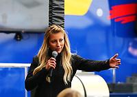 May 21, 2017; Topeka, KS, USA; NHRA top fuel driver Leah Pritchett during the Heartland Nationals at Heartland Park Topeka. Mandatory Credit: Mark J. Rebilas-USA TODAY Sports