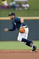Second baseman Blake Tiberi (3) of the Columbia Fireflies plays defense in a game against the Greenville Drive on Sunday, May 27, 2018, at Spirit Communications Park in Columbia, South Carolina. Greenville won, 3-0. (Tom Priddy/Four Seam Images)