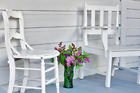 Chairs on porch at Hulda Klager Lilac Gardens, Woodland, Washington